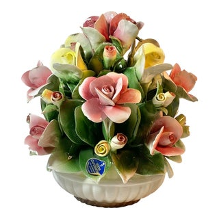 Capodimonte Porcelain Centerpiece Pink Yellow Flowers Bouquet For Sale
