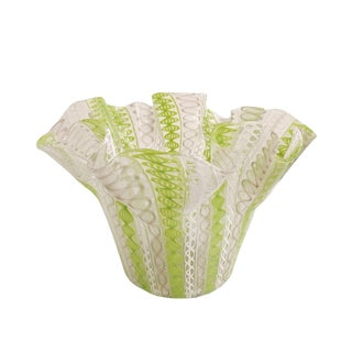 Lime Green and White Lattimo Glass Handkerchief Vase For Sale