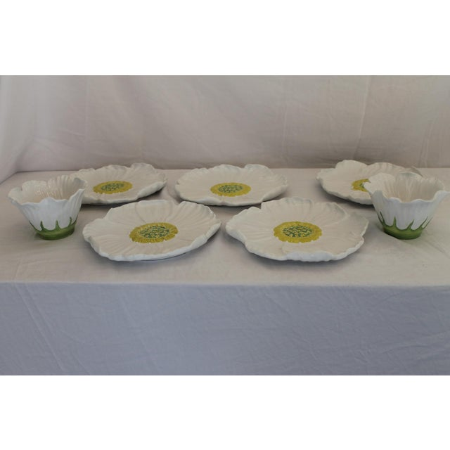 Vintage White Ceramic Daisy Bowls and Saucers - 7 Piece Set For Sale In New Orleans - Image 6 of 7