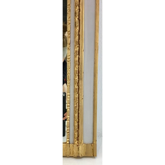 Ave Home Neoclassical Style Gray and Gold Leaf Trumeau Wall Mirror For Sale - Image 4 of 6