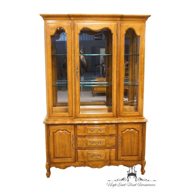 """Thomasville Furniture Tableau Collection French Provincial 50"""" China Cabinet 21821-410 76"""" High 50"""" Wide 17"""" Deep We..."""