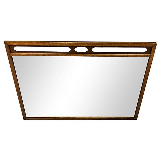 1960s Drexel Compass pecan and walnut wood wall mirror. Newly refinished condition. Some hardware included. Marked
