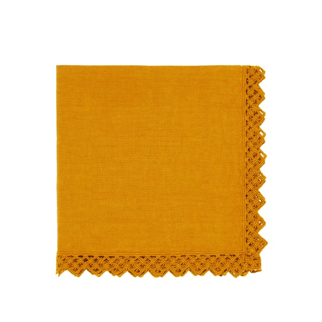 This beautiful crushed linen napkin with macramé detailing is a modern take on an exquisite traditional craft. Available...