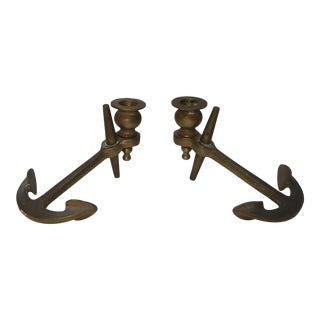 1960s Vintage Nautical Brass Candleholders - a Pair For Sale