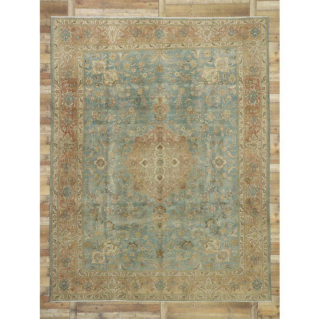 Robin's Egg Blue Vintage Tabriz Rug With Gustavian Style - 09'09 X 12'07 For Sale - Image 8 of 10