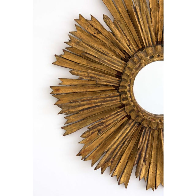 Mid-Century Two Tier Gilded Wood Sunburst Mirror For Sale - Image 4 of 5