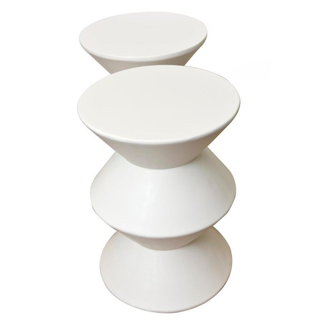 Contemporary Pair of Sirmos Plaster of Paris Modernist Sculptural Side Tables/Tables For Sale - Image 3 of 10