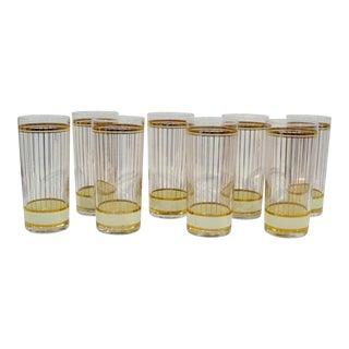 Culver Gold Gilded Tumbler Glasses - Set of 8