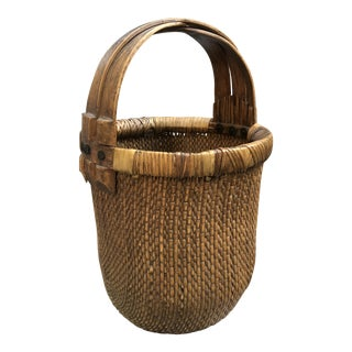 Chinese Hand Woven Reed Basket For Sale