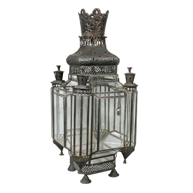 Metal Moroccan Black Painted Tole Hall Lantern For Sale - Image 7 of 11