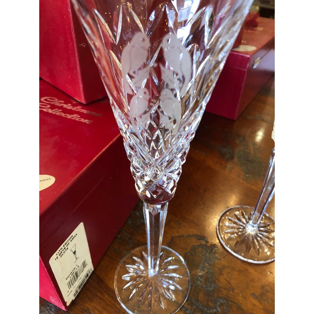 Transparent Waterford Crystal 12 Days of Christmas Champagne Flutes- 12 Pieces For Sale - Image 8 of 12