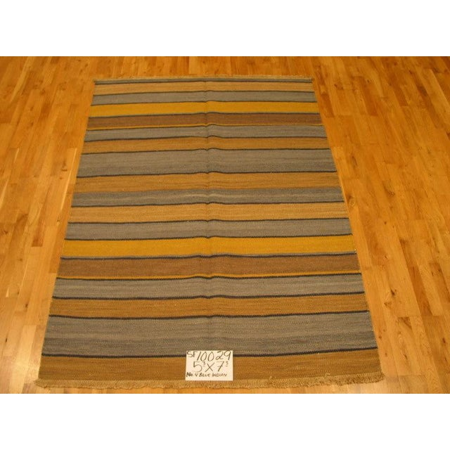 Asian Striped Kilim Rug - 5′3″ × 7′3″ For Sale - Image 3 of 3