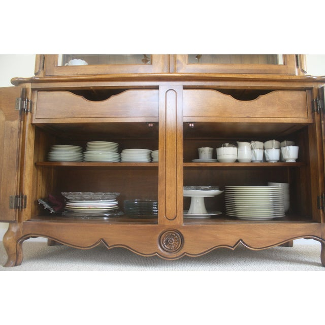 Brown Ethan Allen Country French China Cabinet and Buffet For Sale - Image 8 of 8