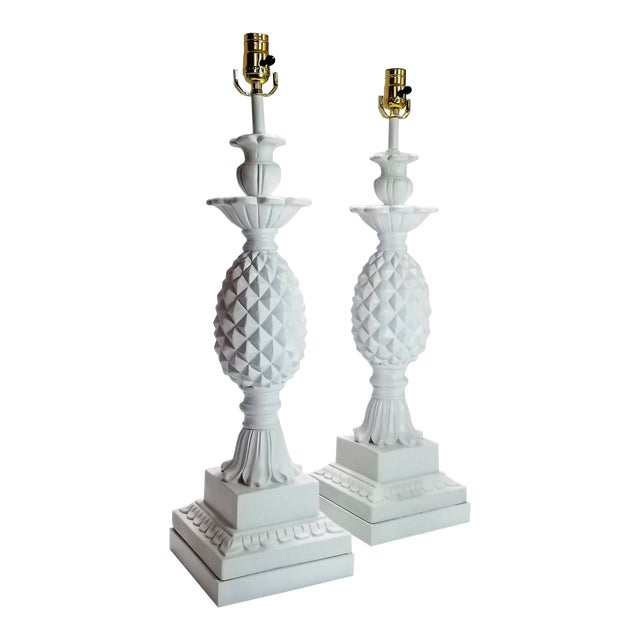 Huge Pair of Pineapple Table Lamps - Restored - Solid Plaster Wood Base - Mid Century Modern Hollywood Regency Palm Beach Chic - Signed and Dated 1957 For Sale