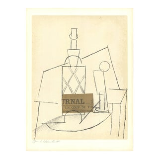"Pablo Picasso Table With Bottle 25.25"" X 19"" Lithograph 1955 Cubism For Sale"