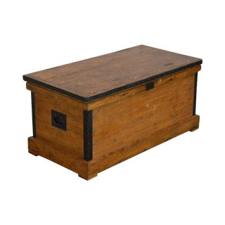 Antique Carpenters Wood Tool Chest Trunk For Sale