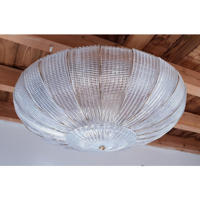 Large Mid-Century Modern Round Clear Murano Glass Flush Mount For Sale - Image 11 of 12