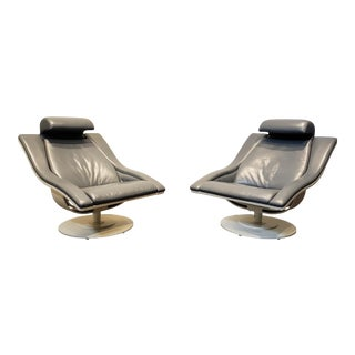 Pair of Structural Mid Century Modern Leather Swivel Lounge Chairs For Sale