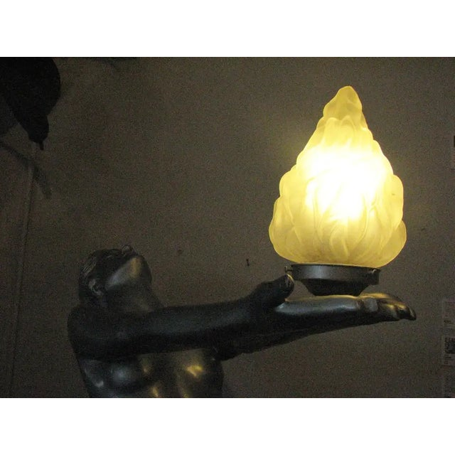 "Plastic 6 Foot Art Deco ""Clarte"" Biba Nude Floor Lamp in the Style of Max Le Verrier For Sale - Image 7 of 9"