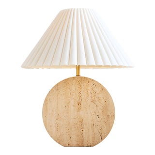Sculptural Travertine Table Lamp For Sale