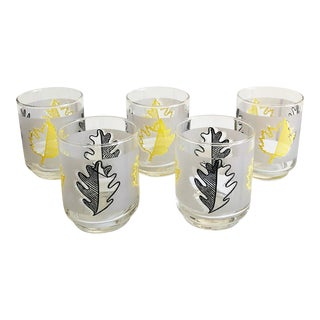 Mid Century Small Leaf Glasses - Set of 5 For Sale