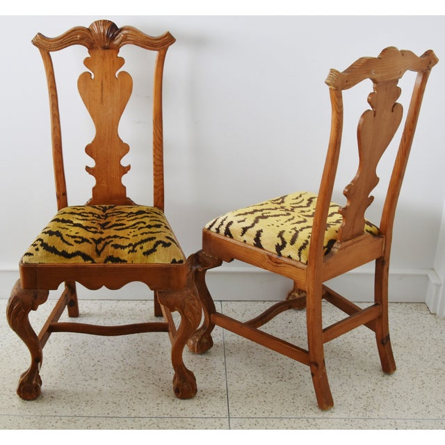 Italian Scalamandre Le Tigre (Tiger) Velvet Side Chairs - Pair For Sale - Image 12 of 13