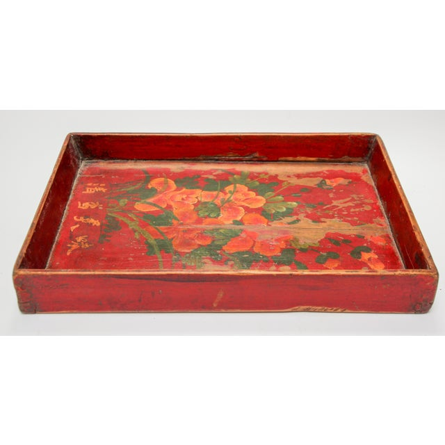 Red Chinese Antique Red Hand Painted Wood Tray For Sale - Image 8 of 13
