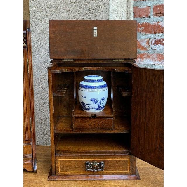 Antique English Inlaid Tiger Oak Pipe Smoke Cabinet Game Box Humidor Copper For Sale In Dallas - Image 6 of 13