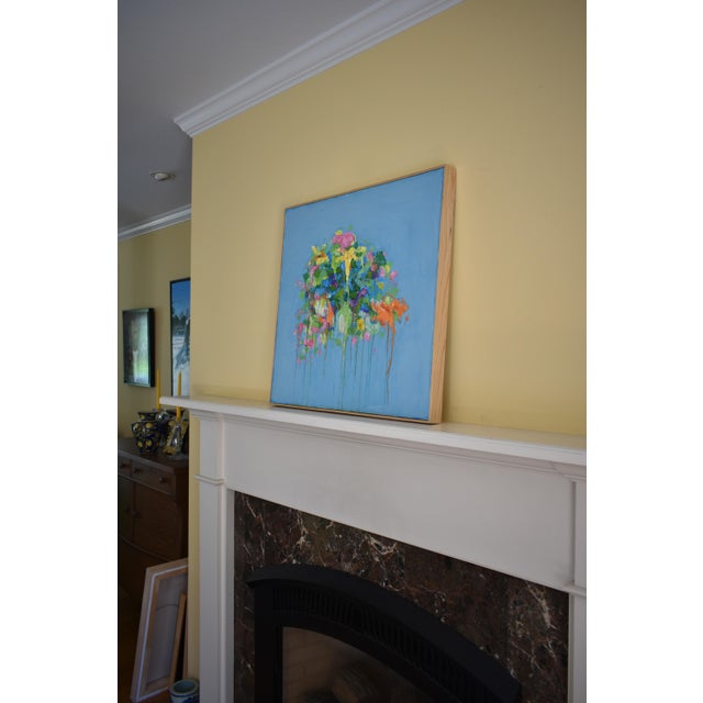 """Stephen Remick """"Bouquet ~ Out of Many, One"""" (Blue Ground) Contemporary Abstract Painting For Sale - Image 10 of 13"""