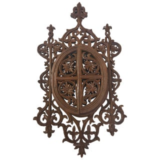 Late 19th Century Gothic Revival Carved Boxwood Doored Filigree Frame