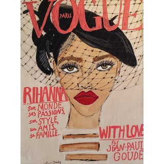Rihanna Vogue Paris Cover Mixed Media Drawing For Sale