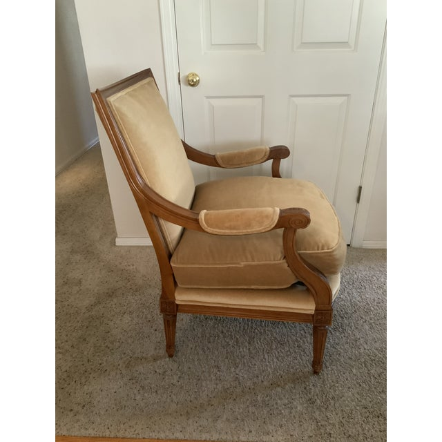 Baker Gold Mohair Accent Bergere Chair For Sale - Image 9 of 10