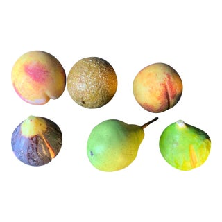 Vintage Italian Carved Marble Hand Painted Fruit - Set of 6 For Sale