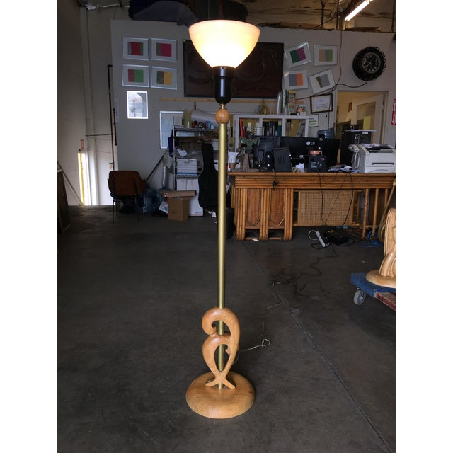Mid-Century Modern Heifetz Style Hand-Carved Abstract Torchiere Floor Lamp For Sale - Image 3 of 9
