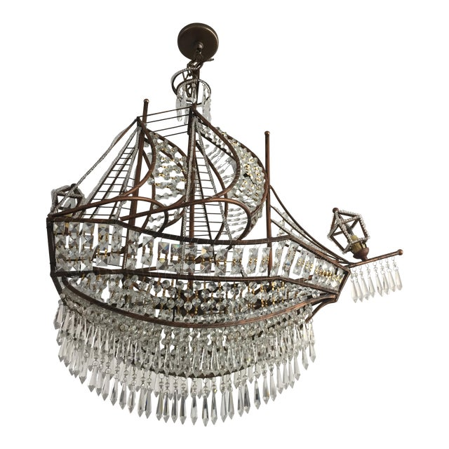 Spanish Galleon Ship Crystal Chandelier, Italy 1990s For Sale