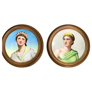 "Pair of Antique English Grand Tour Portrait Plaques ""Hera & Rhodus"" For Sale"