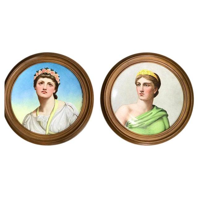"""Pair of Antique English Grand Tour Portrait Plaques """"Hera & Rhodus"""" For Sale"""