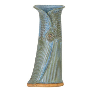 Incised Vase With Button Detail For Sale