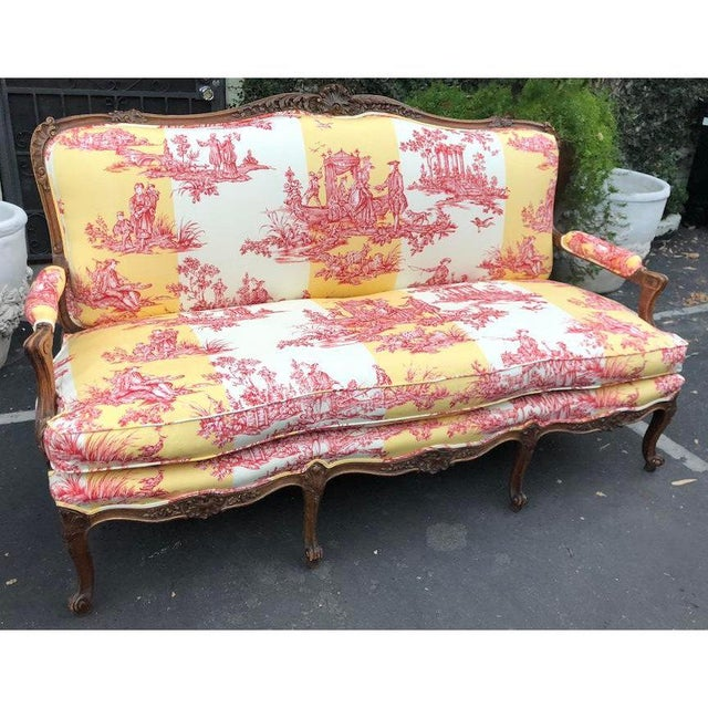 Late 19th Century Antique Louis XV Style Carved Walnut Sofa Settee W/ Brunschwig & Fils Toile For Sale - Image 5 of 11