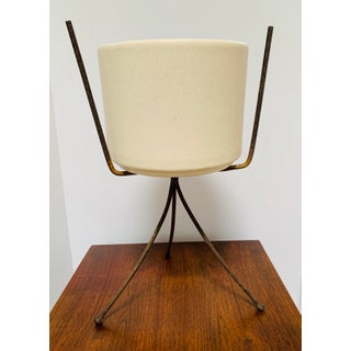 Mid-Century Modern Off White Gainey Ceramics Planter Pot & Iron Stand California Pottery Preview