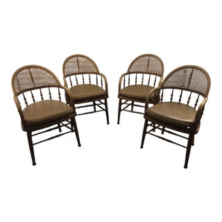 Antique Captains Caning Back Chairs - Set of 4