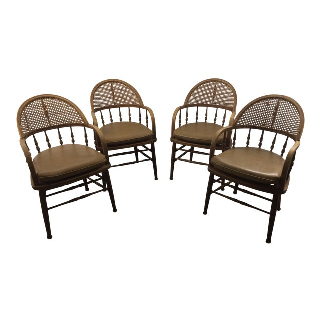 Antique Captains Caning Back Chairs - Set of 4 For Sale