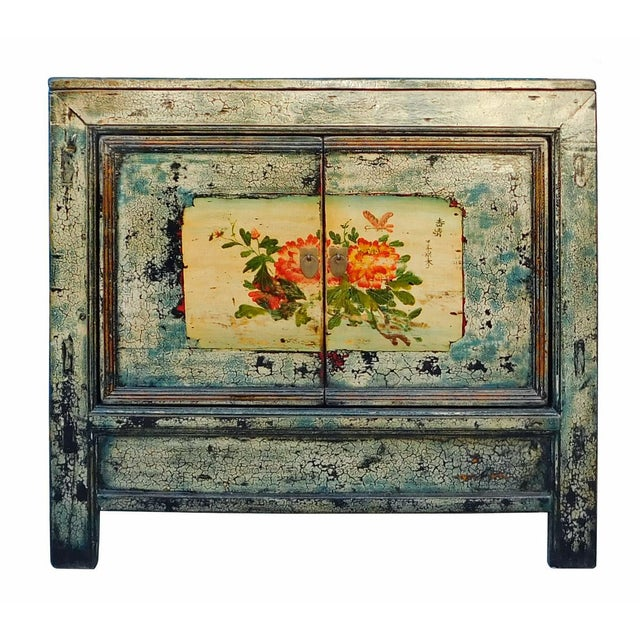 Chinese Floral Cabinet in Crackle Blue - Image 1 of 8