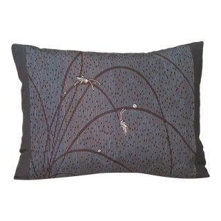 Hand-Stenciled Grasshoppers Japanese Silk Kimono Pillow Cover For Sale