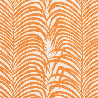 Schumacher Zebra Palm Indoor/Outdoor Fabric in Orange For Sale