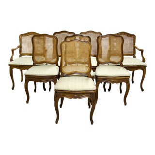 French Caned Walnut Dining Chairs, S/8 For Sale