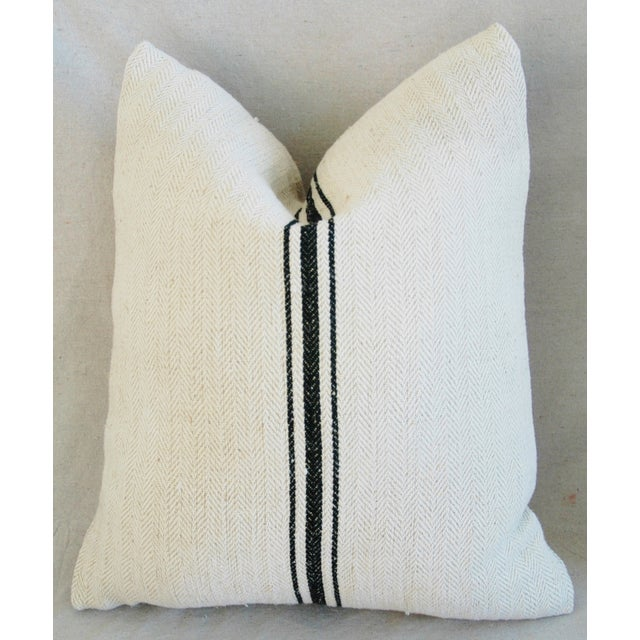 French Grain Sack Down & Feather Pillows - A Pair - Image 5 of 10