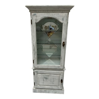 1990s Shabby Chic Mirrored Curio With Glass Shelves For Sale