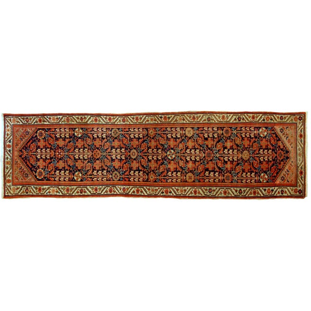 Islamic 1900s Handmade Antique Persian Malayer Runner 3.1' X 12.3' For Sale - Image 3 of 9