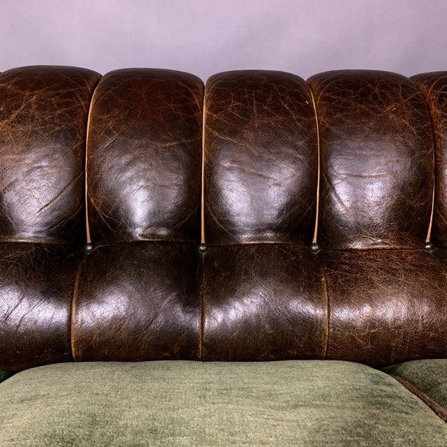 White Danish 1930s Art Deco Green Leather Channeled Sofa For Sale - Image 8 of 11